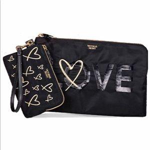 VS Bling Sequin LOVE Clutch Zip Pouch Wristlet Set